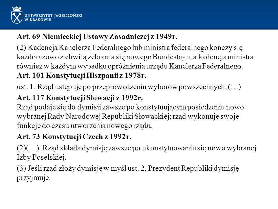 Art. 69 Niemieckiej Ustawy Zasadniczej z 1949r