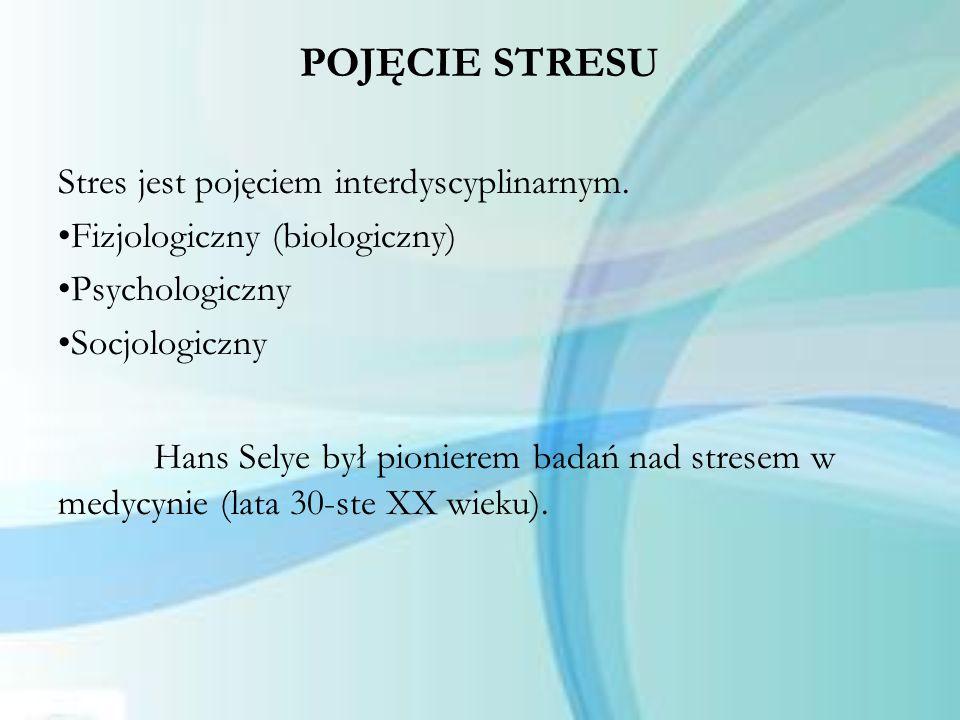 POJĘCIE STRESU Stres jest pojęciem interdyscyplinarnym. Fizjologiczny (biologiczny) Psychologiczny.