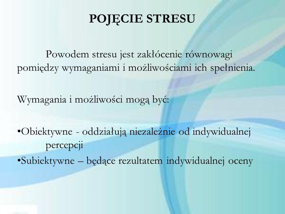 POJĘCIE STRESU Powodem stresu jest zakłócenie równowagi pomiędzy wymaganiami i możliwościami ich spełnienia.