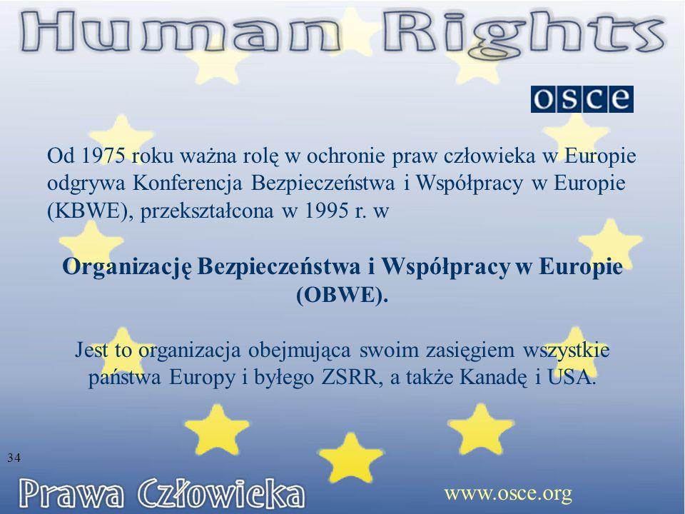Organizację Bezpieczeństwa i Współpracy w Europie (OBWE).