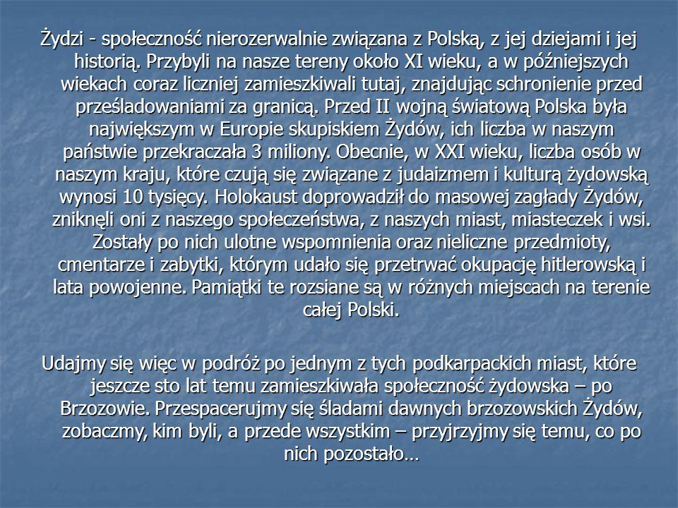 Żydzi - społeczność nierozerwalnie związana z Polską, z jej dziejami i jej historią. Przybyli na nasze tereny około XI wieku, a w późniejszych wiekach coraz liczniej zamieszkiwali tutaj, znajdując schronienie przed prześladowaniami za granicą. Przed II wojną światową Polska była największym w Europie skupiskiem Żydów, ich liczba w naszym państwie przekraczała 3 miliony. Obecnie, w XXI wieku, liczba osób w naszym kraju, które czują się związane z judaizmem i kulturą żydowską wynosi 10 tysięcy. Holokaust doprowadził do masowej zagłady Żydów, zniknęli oni z naszego społeczeństwa, z naszych miast, miasteczek i wsi. Zostały po nich ulotne wspomnienia oraz nieliczne przedmioty, cmentarze i zabytki, którym udało się przetrwać okupację hitlerowską i lata powojenne. Pamiątki te rozsiane są w różnych miejscach na terenie całej Polski.