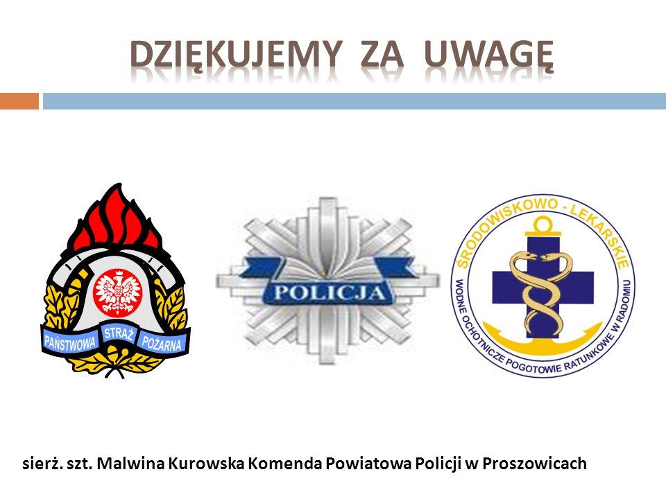 DZIękujemy za uwagę sierż. szt. Malwina Kurowska Komenda Powiatowa Policji w Proszowicach