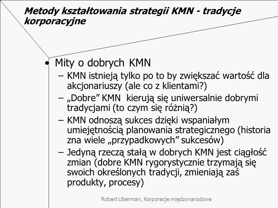 Metody kształtowania strategii KMN - tradycje korporacyjne