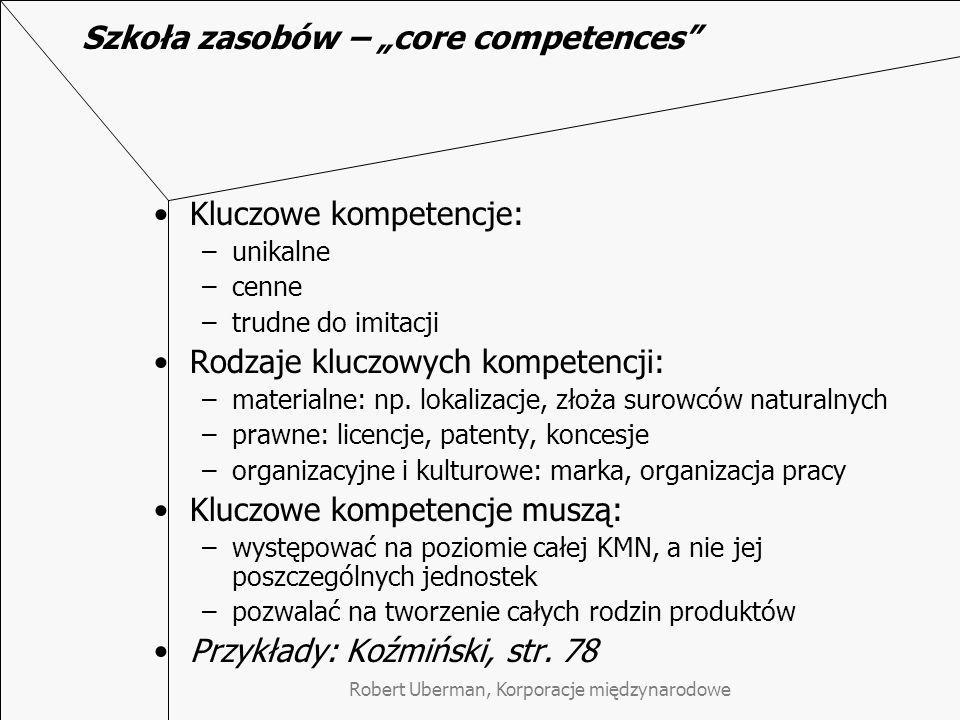 """Szkoła zasobów – """"core competences"""