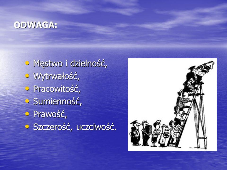ODWAGA: Męstwo i dzielność, Wytrwałość, Pracowitość, Sumienność, Prawość, Szczerość, uczciwość.