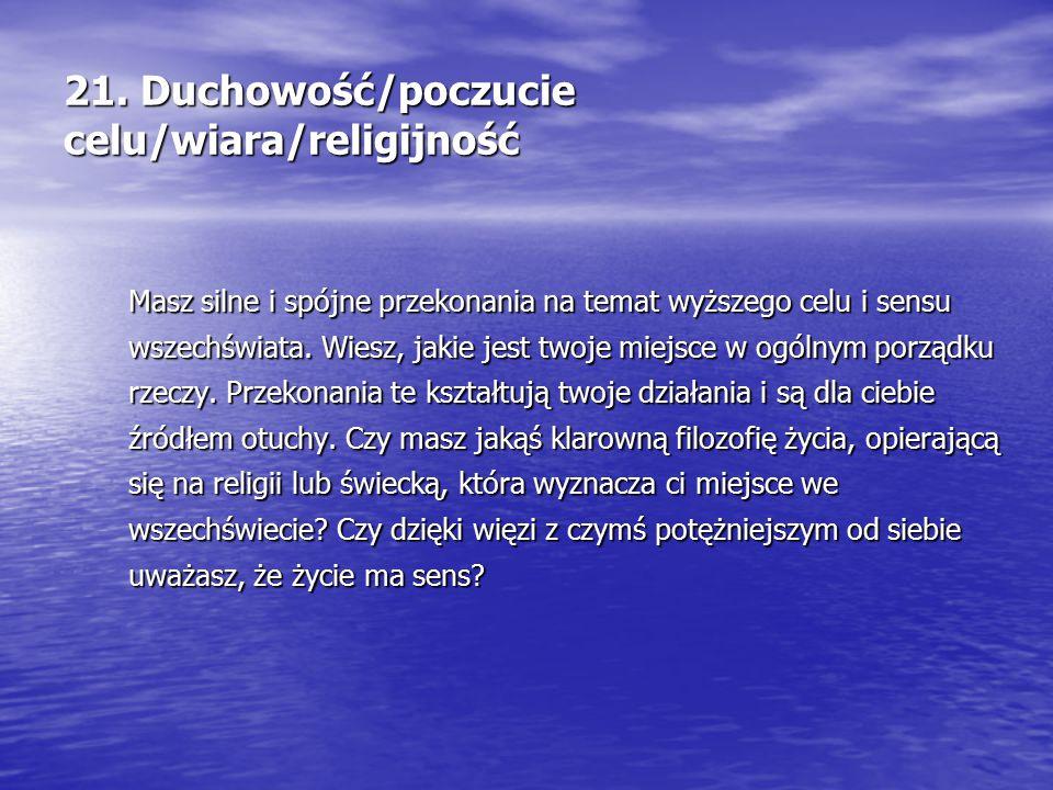 21. Duchowość/poczucie celu/wiara/religijność