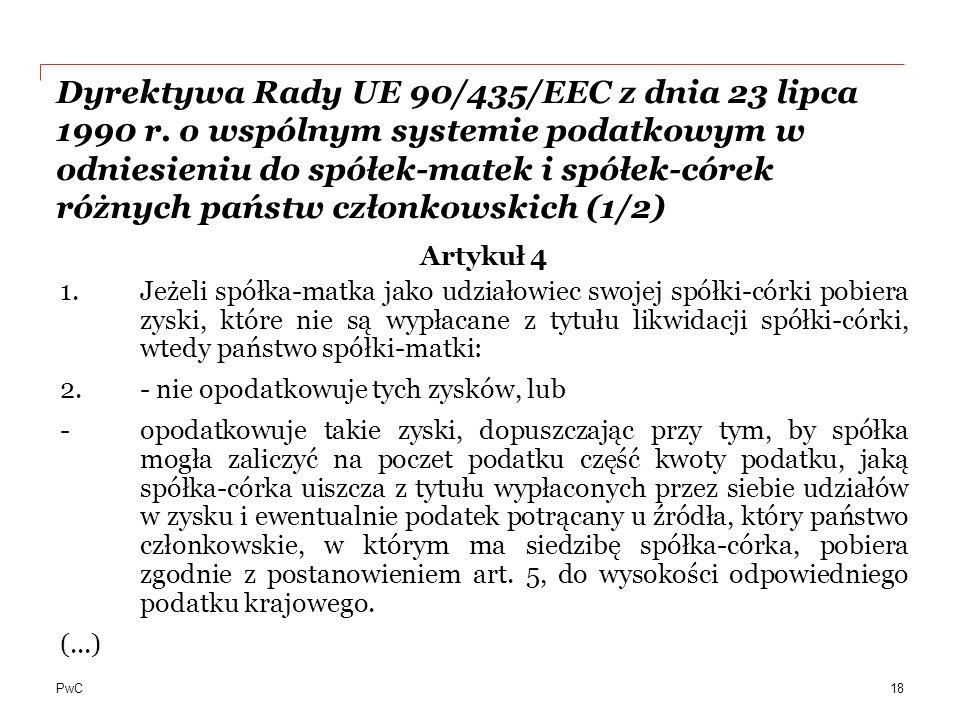 Dyrektywa Rady UE 90/435/EEC z dnia 23 lipca 1990 r