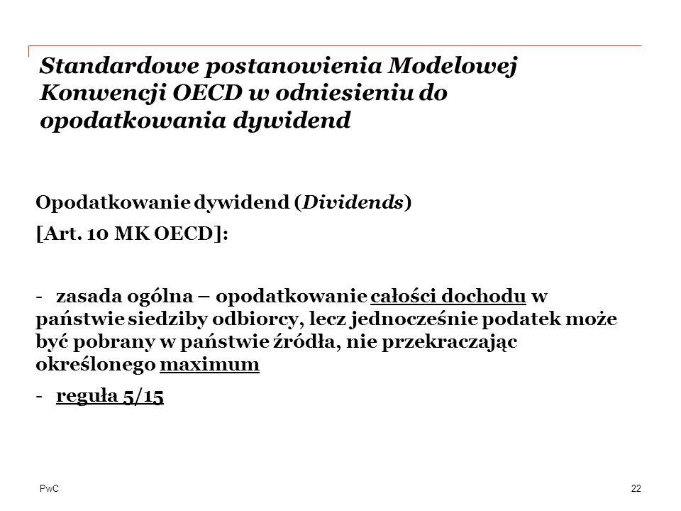 Standardowe postanowienia Modelowej Konwencji OECD w odniesieniu do opodatkowania dywidend