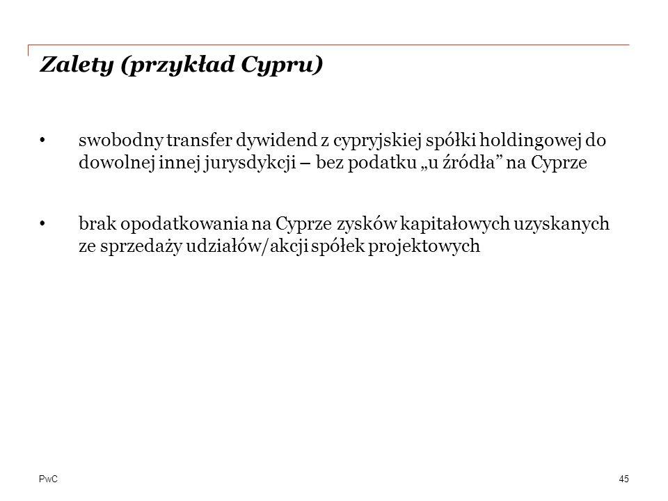 Zalety (przykład Cypru)