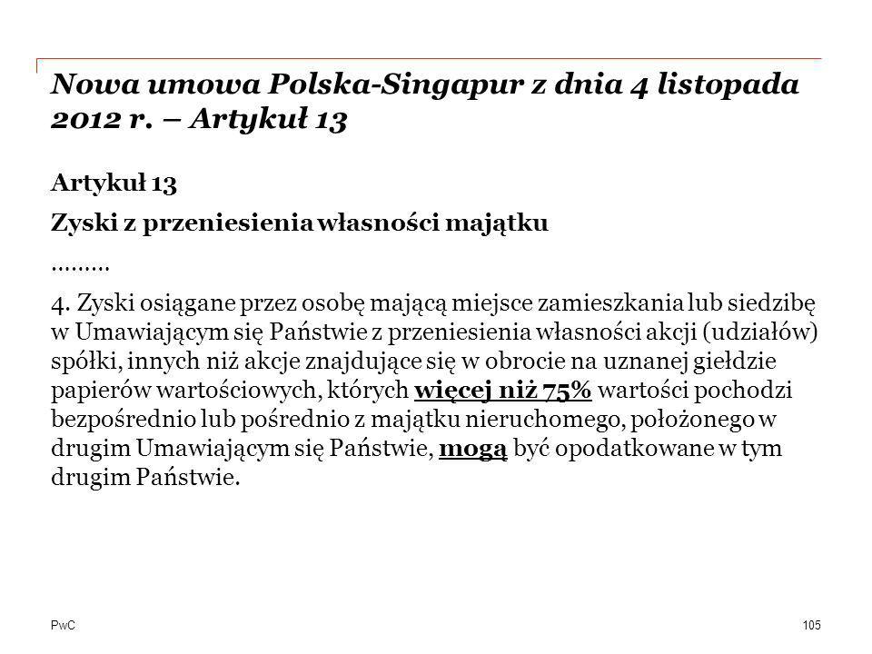 Nowa umowa Polska-Singapur z dnia 4 listopada 2012 r. – Artykuł 13