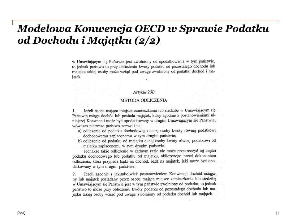 Modelowa Konwencja OECD w Sprawie Podatku od Dochodu i Majątku (2/2)