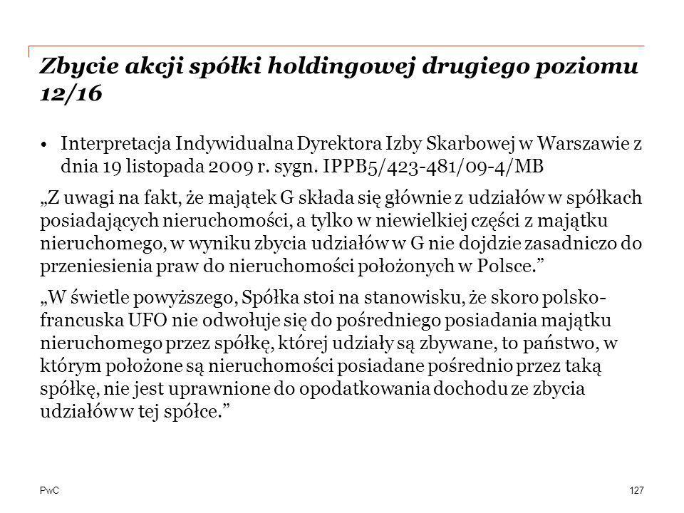 Zbycie akcji spółki holdingowej drugiego poziomu 12/16