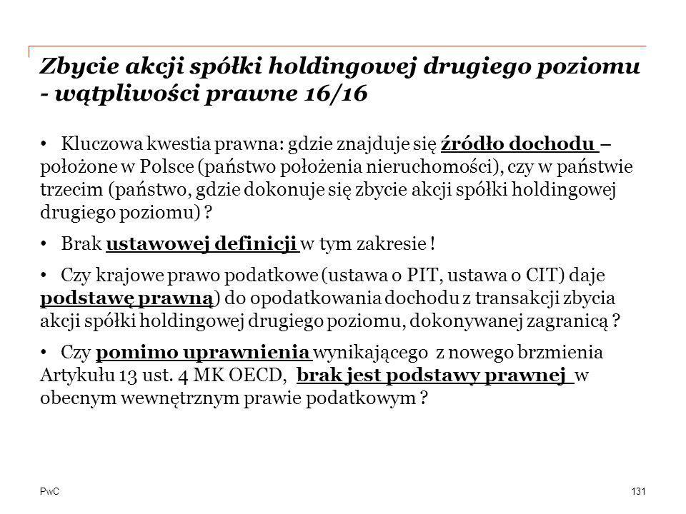 Zbycie akcji spółki holdingowej drugiego poziomu - wątpliwości prawne 16/16
