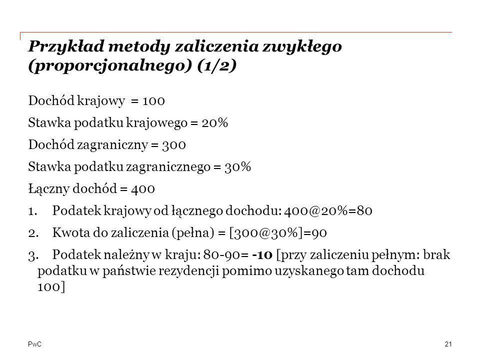 Przykład metody zaliczenia zwykłego (proporcjonalnego) (1/2)