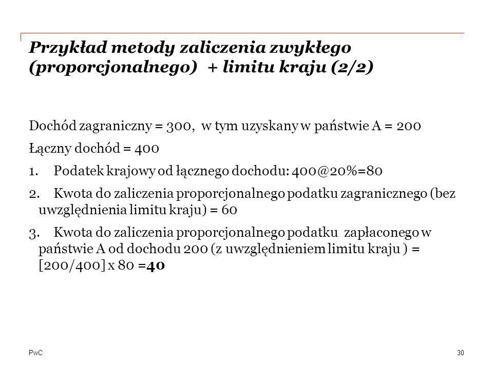 Przykład metody zaliczenia zwykłego (proporcjonalnego) + limitu kraju (2/2)