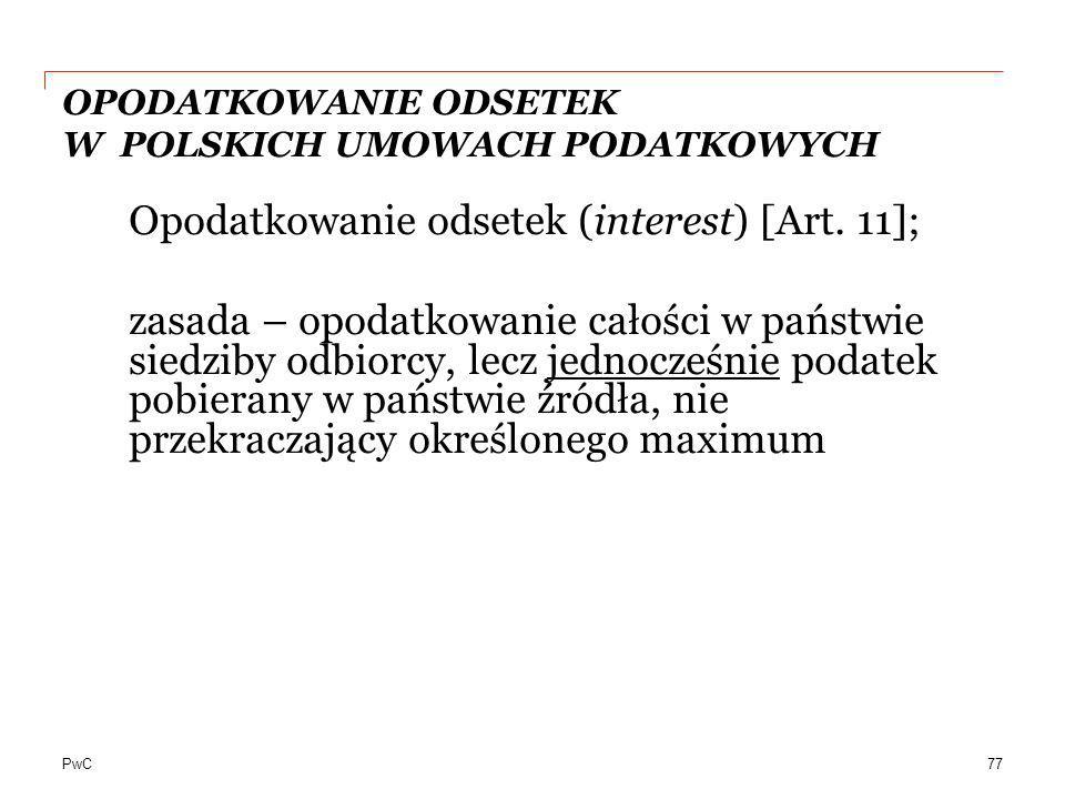 OPODATKOWANIE ODSETEK W POLSKICH UMOWACH PODATKOWYCH