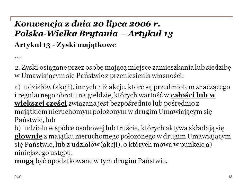 Konwencja z dnia 20 lipca 2006 r. Polska-Wielka Brytania – Artykuł 13