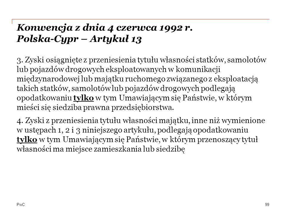 Konwencja z dnia 4 czerwca 1992 r. Polska-Cypr – Artykuł 13