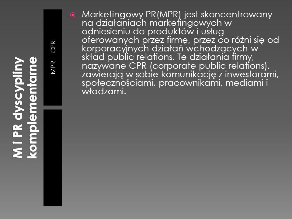 M i PR dyscypliny komplementarne
