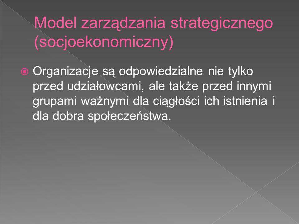Model zarządzania strategicznego (socjoekonomiczny)