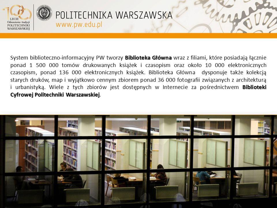 System biblioteczno-informacyjny PW tworzy Biblioteka Główna wraz z filiami, które posiadają łącznie ponad 1 500 000 tomów drukowanych książek i czasopism oraz około 10 000 elektronicznych czasopism, ponad 136 000 elektronicznych książek.