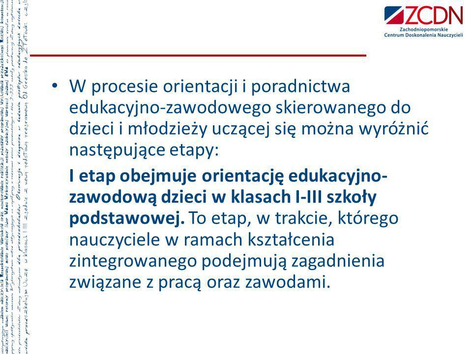 W procesie orientacji i poradnictwa edukacyjno-zawodowego skierowanego do dzieci i młodzieży uczącej się można wyróżnić następujące etapy: