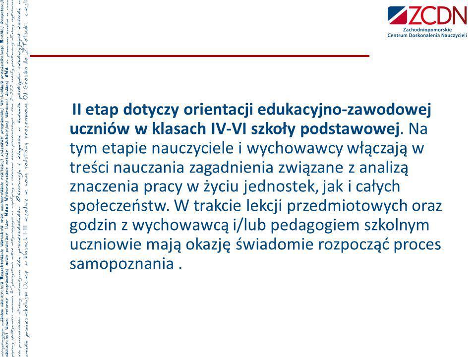 II etap dotyczy orientacji edukacyjno-zawodowej uczniów w klasach IV-VI szkoły podstawowej.
