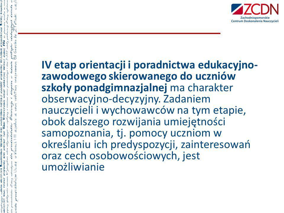 IV etap orientacji i poradnictwa edukacyjno-zawodowego skierowanego do uczniów szkoły ponadgimnazjalnej ma charakter obserwacyjno-decyzyjny.
