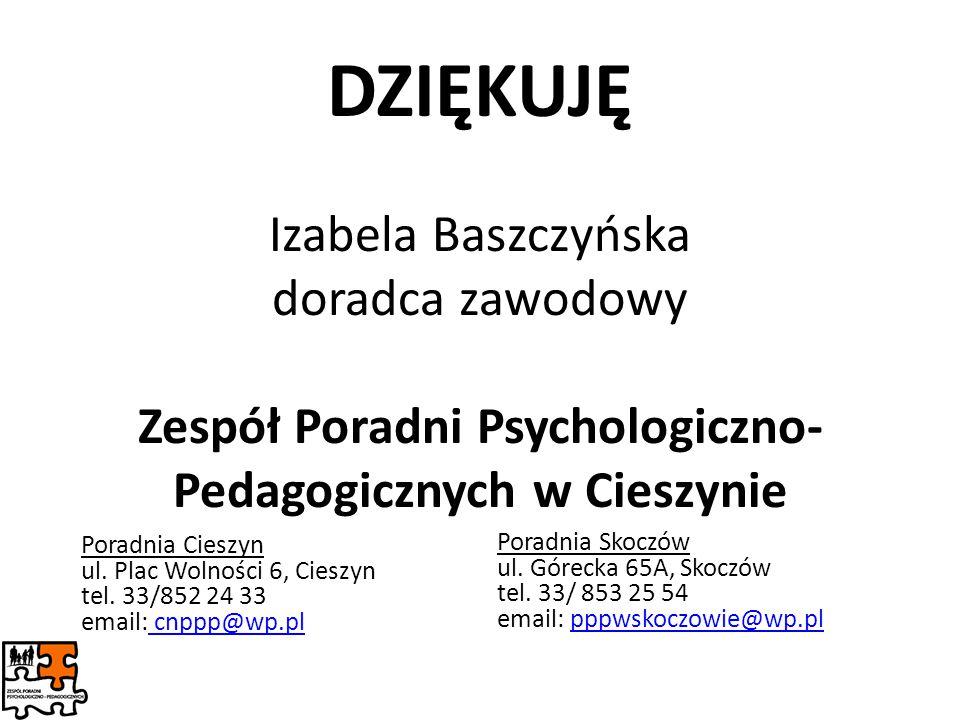 DZIĘKUJĘ Izabela Baszczyńska doradca zawodowy Zespół Poradni Psychologiczno-Pedagogicznych w Cieszynie