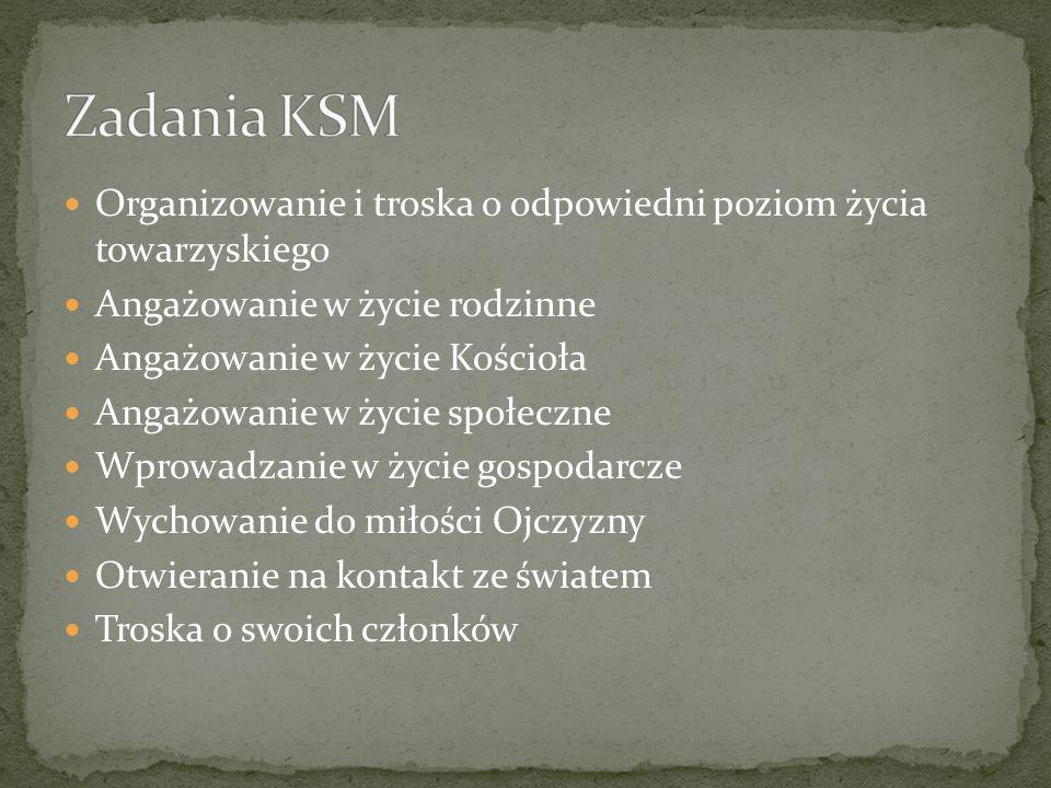 Zadania KSM Organizowanie i troska o odpowiedni poziom życia towarzyskiego. Angażowanie w życie rodzinne.