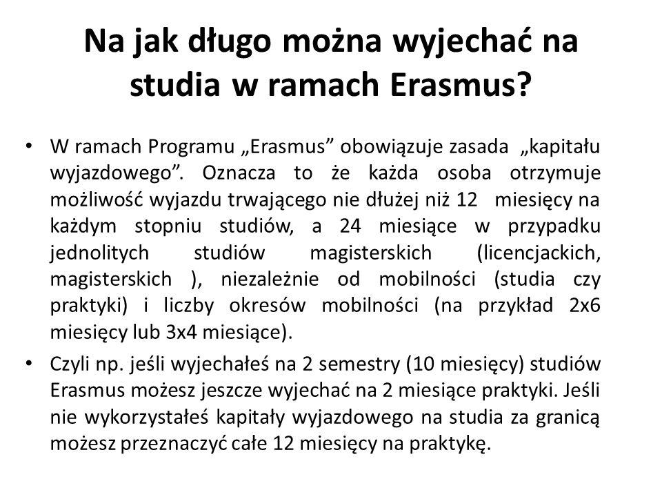 Na jak długo można wyjechać na studia w ramach Erasmus