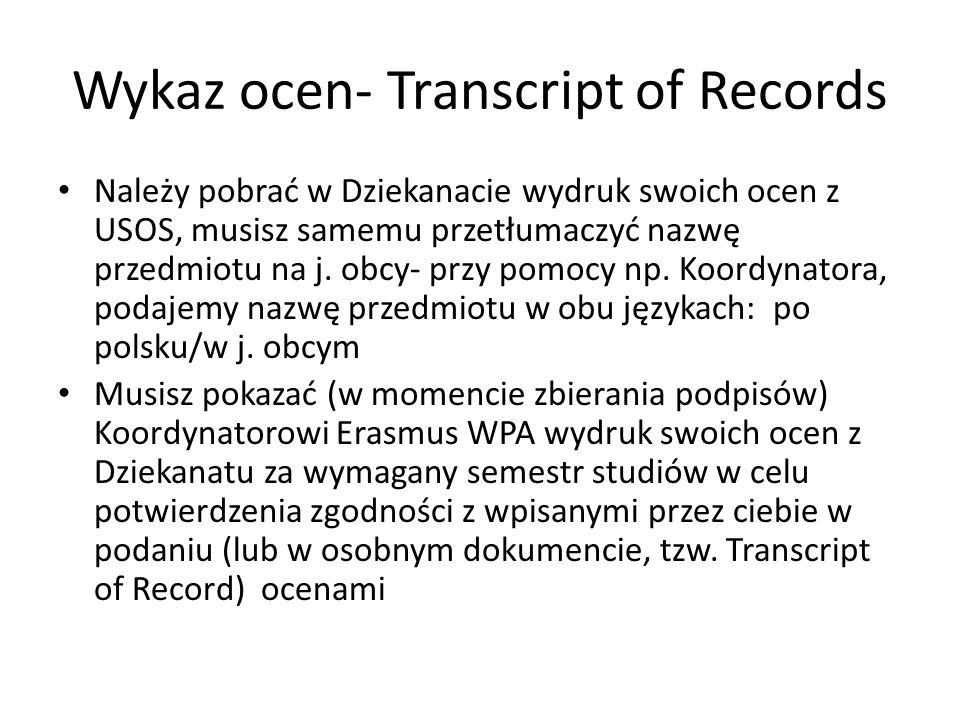 Wykaz ocen- Transcript of Records