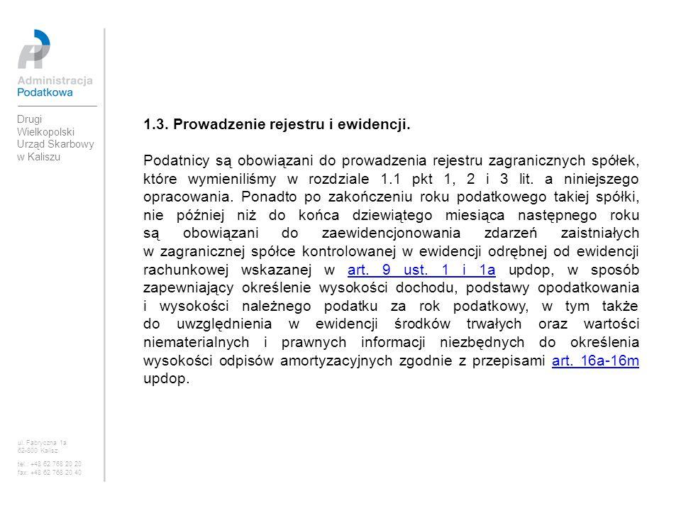 1.3. Prowadzenie rejestru i ewidencji.
