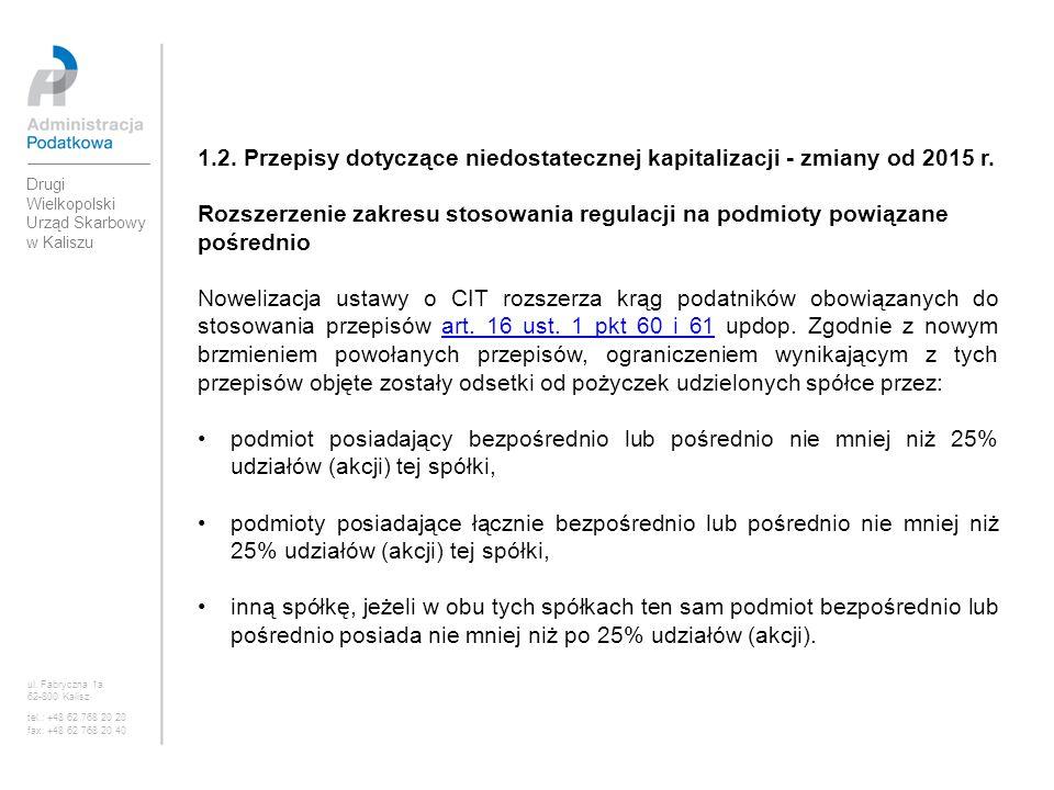 1.2. Przepisy dotyczące niedostatecznej kapitalizacji - zmiany od 2015 r.