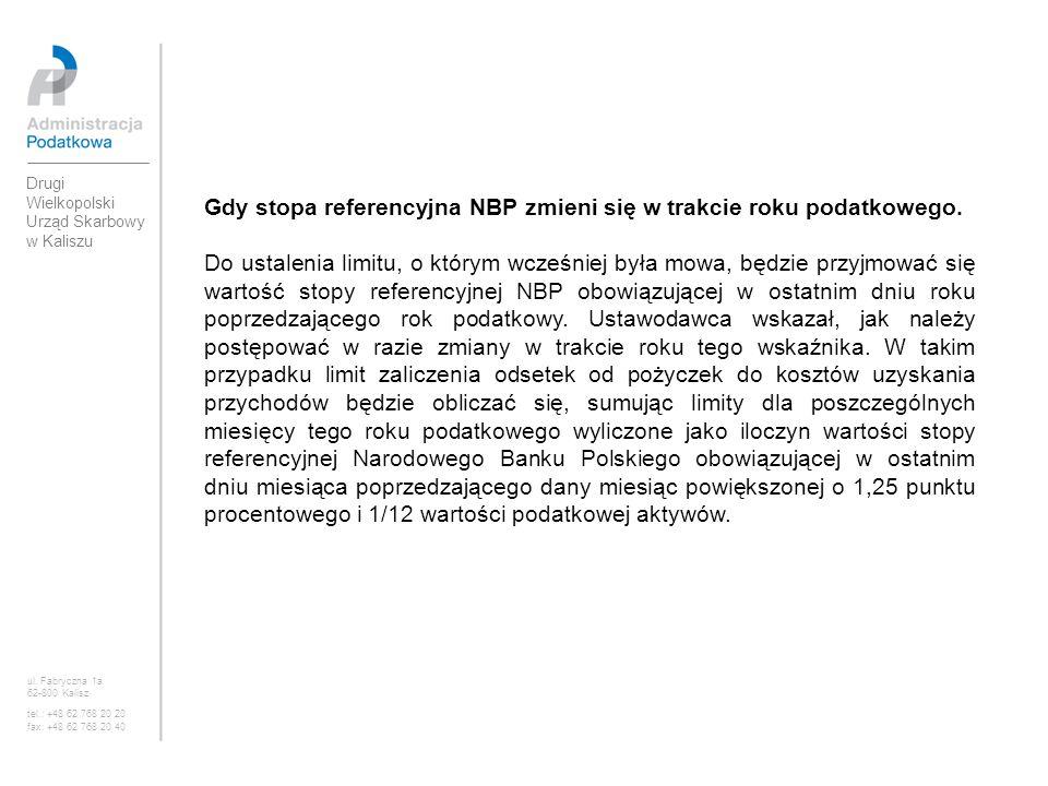 Gdy stopa referencyjna NBP zmieni się w trakcie roku podatkowego.