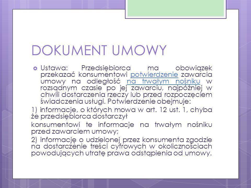 DOKUMENT UMOWY