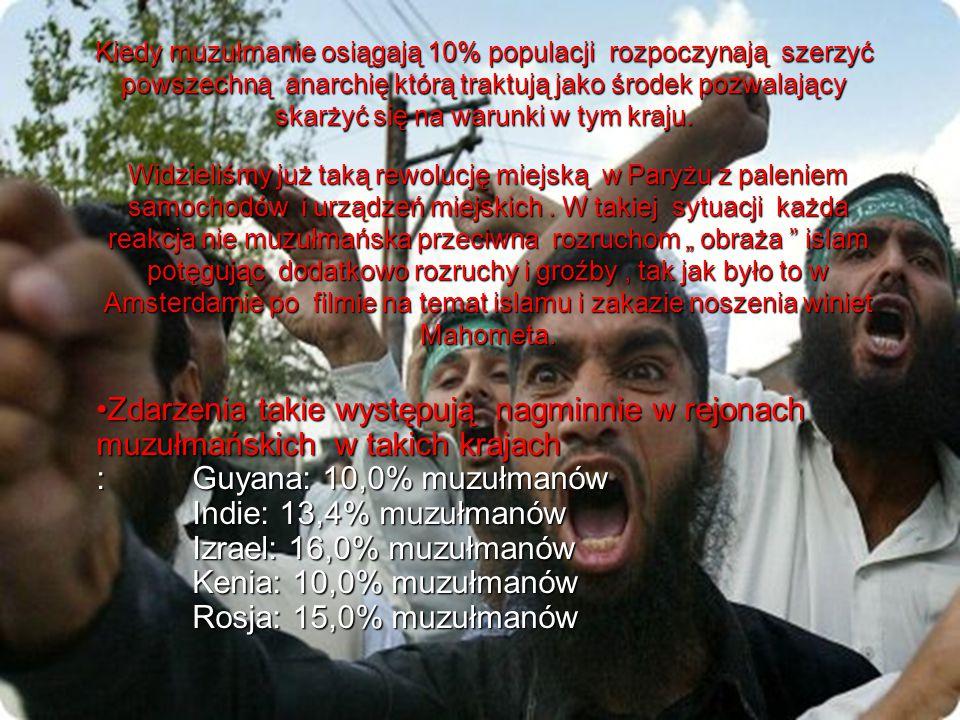 Kiedy muzułmanie osiągają 10% populacji rozpoczynają szerzyć powszechną anarchię którą traktują jako środek pozwalający skarżyć się na warunki w tym kraju.