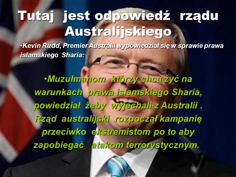 Tutaj jest odpowiedź rządu Australijskiego