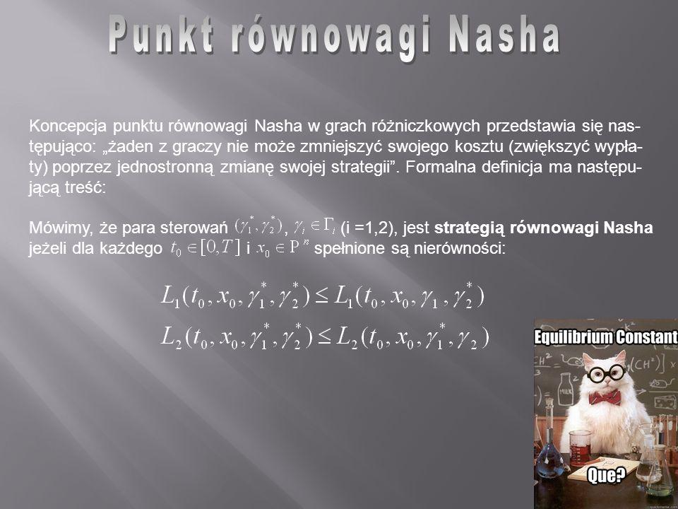 Punkt równowagi Nasha Koncepcja punktu równowagi Nasha w grach różniczkowych przedstawia się nas-