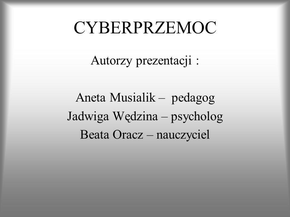 CYBERPRZEMOC Autorzy prezentacji : Aneta Musialik – pedagog
