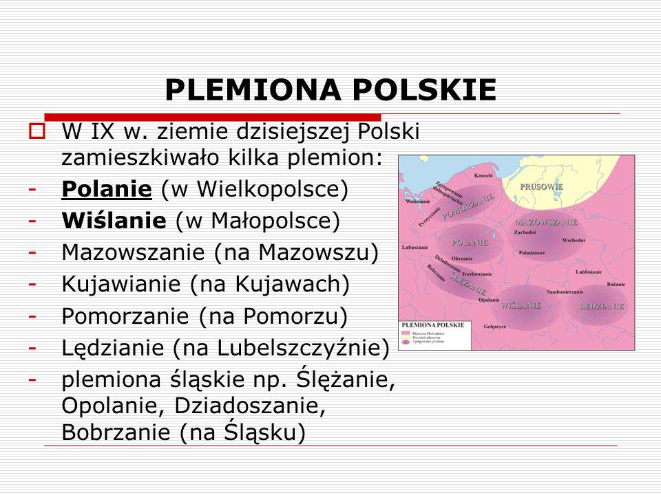 PLEMIONA POLSKIE W IX w. ziemie dzisiejszej Polski zamieszkiwało kilka plemion: Polanie (w Wielkopolsce)