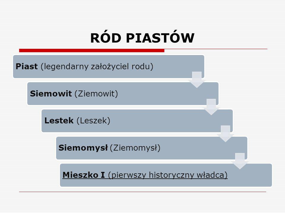 RÓD PIASTÓW Piast (legendarny założyciel rodu) Siemowit (Ziemowit)