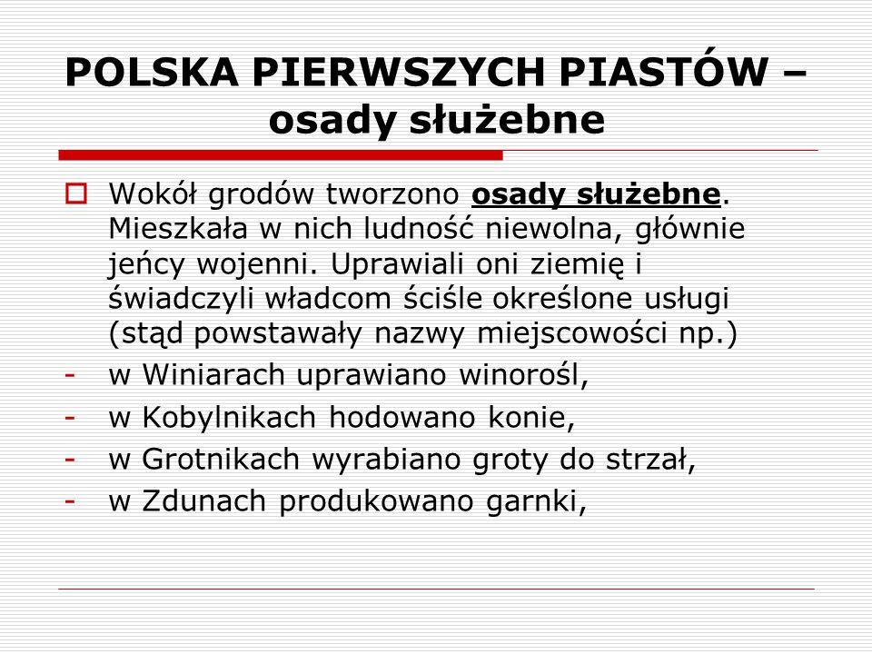 POLSKA PIERWSZYCH PIASTÓW – osady służebne