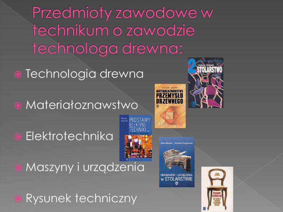 Przedmioty zawodowe w technikum o zawodzie technologa drewna: