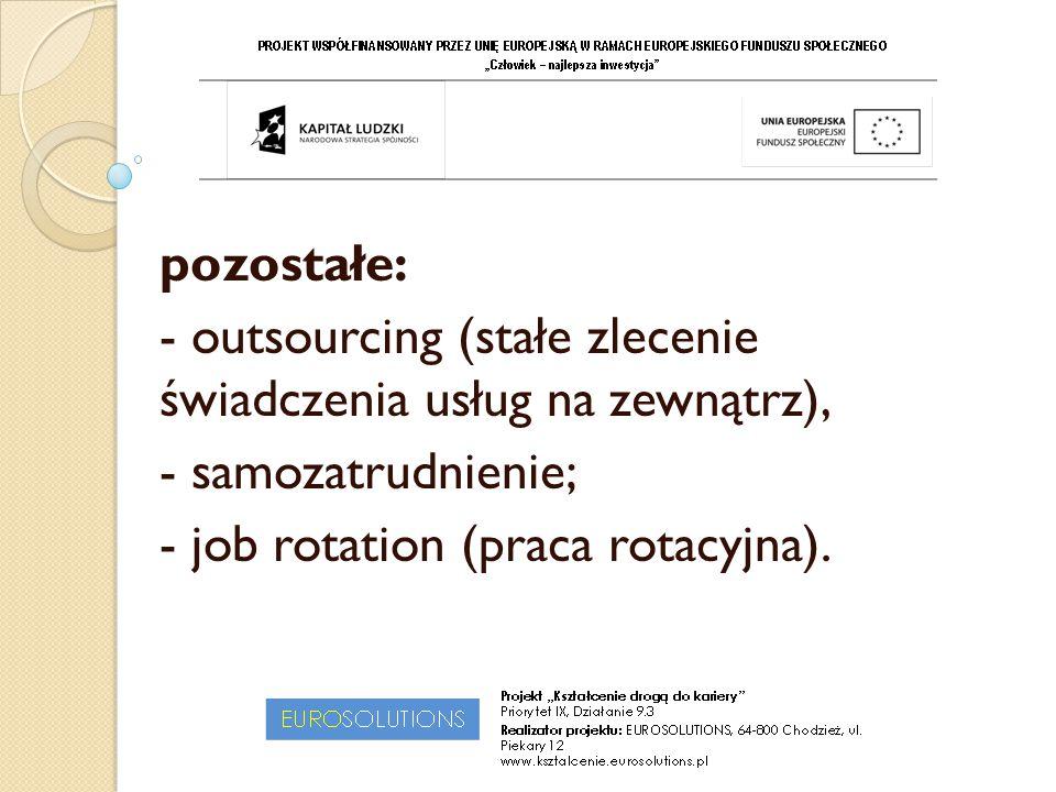 pozostałe: - outsourcing (stałe zlecenie świadczenia usług na zewnątrz), - samozatrudnienie; - job rotation (praca rotacyjna).