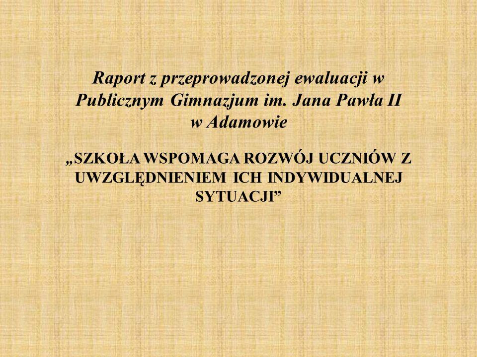 Raport z przeprowadzonej ewaluacji w Publicznym Gimnazjum im