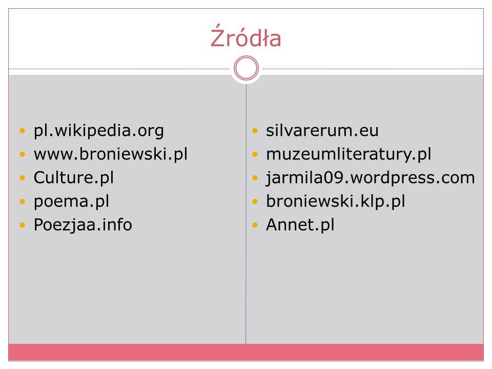 Źródła pl.wikipedia.org www.broniewski.pl Culture.pl poema.pl