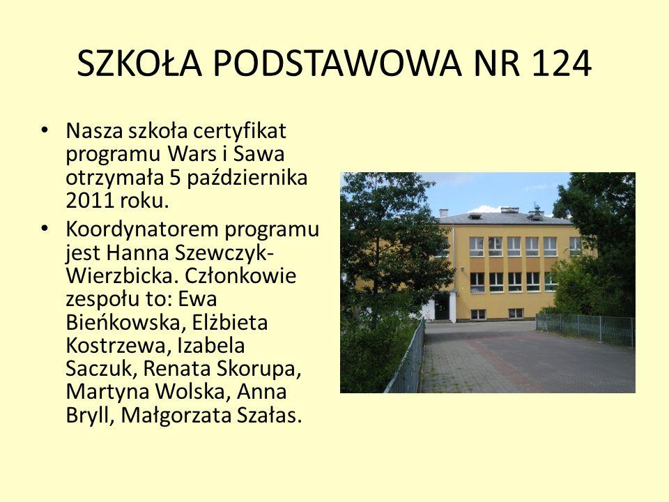 SZKOŁA PODSTAWOWA NR 124 Nasza szkoła certyfikat programu Wars i Sawa otrzymała 5 października 2011 roku.