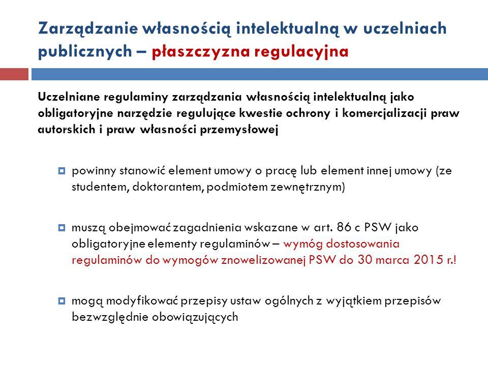 Zarządzanie własnością intelektualną w uczelniach publicznych – płaszczyzna regulacyjna