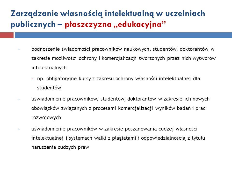 """Zarządzanie własnością intelektualną w uczelniach publicznych – płaszczyzna """"edukacyjna"""